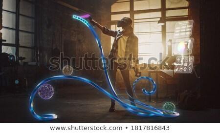 kobieta · faktyczny · rzeczywistość · zestawu · 3D · technologii - zdjęcia stock © dolgachov