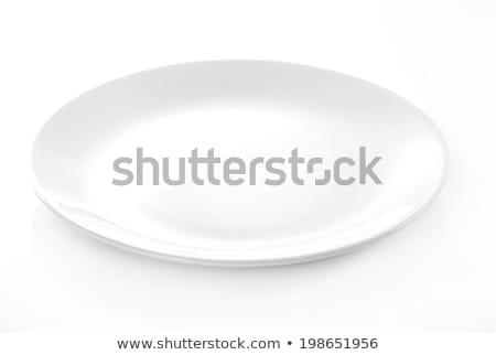 Zdjęcia stock: Pusty · biały · spodek · tablicy · czyste · naczyń