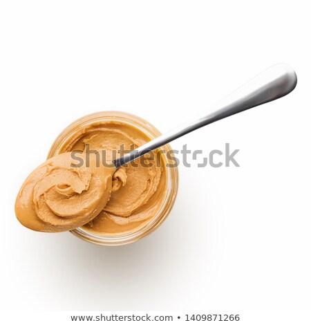 Vazio tigela manteiga de amendoim terreno saudável Foto stock © Digifoodstock