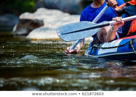 jonge · vrouw · kajakken · waterval · helm · kleur · gevaar - stockfoto © monkey_business
