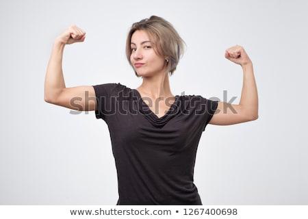 幸せ スポーツ 女性 上腕二頭筋 画像 ストックフォト © deandrobot