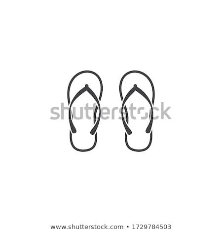 papucs · vektor · tengerpart · divat · nyár · zöld - stock fotó © ordogz