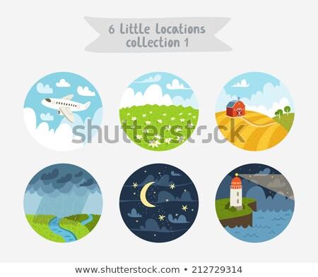 Vektor rajz stílus illusztráció búzamező nappal Stock fotó © curiosity