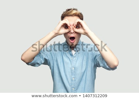 Wow empresário olhando binóculo retro Foto stock © studiostoks