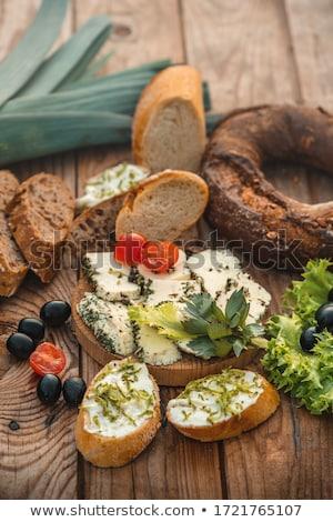 粉チーズ オリーブ トースト ボウル オリーブ 木製 ストックフォト © Digifoodstock