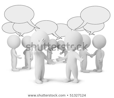 Foto stock: 3D · pequeño · personas · conversación · dos · 3d · personas