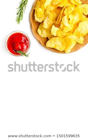 Ev yapımı cips domates sosu ahşap arka Stok fotoğraf © Masha