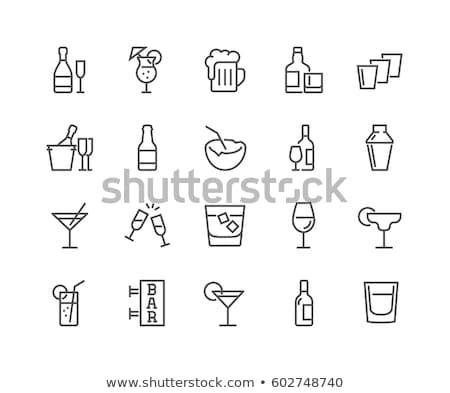 szkła · whisky · line · ikona · wektora · odizolowany - zdjęcia stock © rastudio