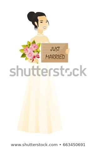 ázsiai menyasszony tart tányér szöveg friss házasok Stock fotó © RAStudio
