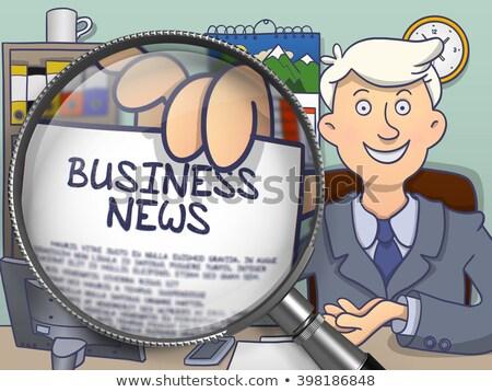 финансовых Новости увеличительное стекло болван бизнесмен Сток-фото © tashatuvango