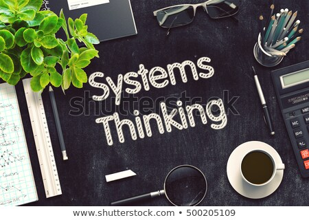systems thinking on black chalkboard 3d rendering stock photo © tashatuvango