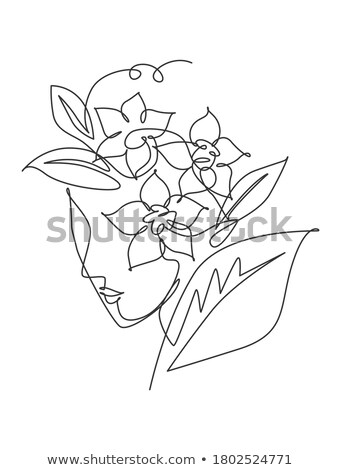 Fille visage roses femme tête fleur Photo stock © popaukropa