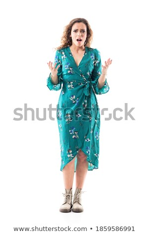 full length portrait of a young brunette woman in dress stock photo © deandrobot