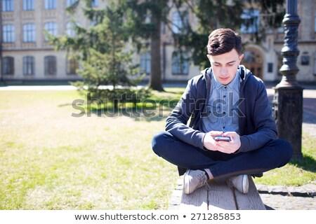 Stock fotó: Diák · pihen · iskola · játszik · mobiltelefon · folyosó
