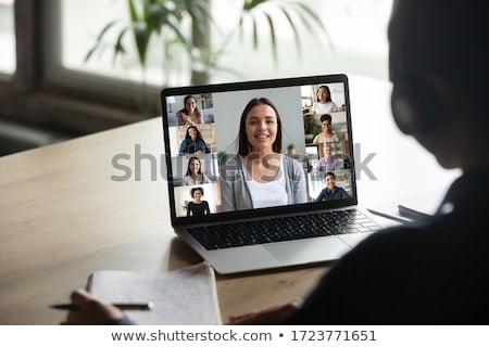üzletasszony · flörtöl · kolléga · üzlet · nő · iroda - stock fotó © is2