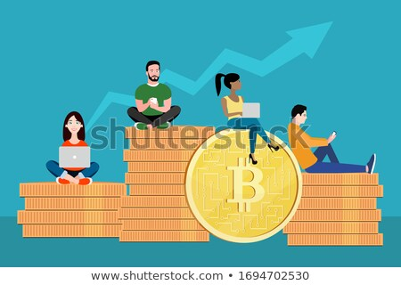 Bitcoin concept vector illustration of young people using laptop and smartphone for online funding a Stock photo © makyzz