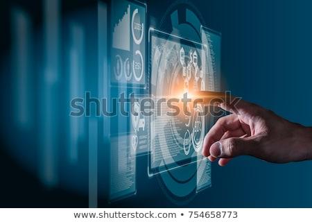 Hand Finger Press Data Security Button. 3D Render. Stock photo © tashatuvango