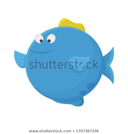 Rajz boldog hal buborékfújás ikon vektor Stock fotó © NikoDzhi