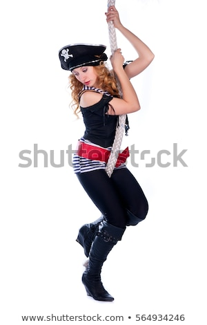 ストックフォト: 女性 · 海賊 · 孤立した · 白 · 背景 · 剣