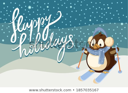 Skis vector cartoon illustration. Stock photo © RAStudio