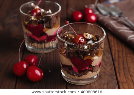 Homemade Chocolate Mousse With Cherries Stock photo © mpessaris