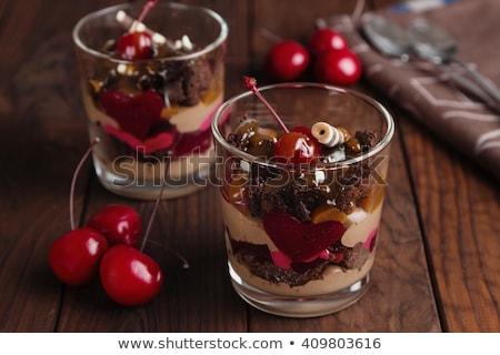 csokoládé · hab · puding · finom · eprek · citromsárga · torta - stock fotó © mpessaris