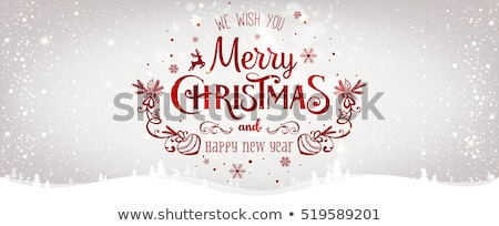 Vector Merry Christmas illustration with typographic design on shiny red background. Stock photo © articular