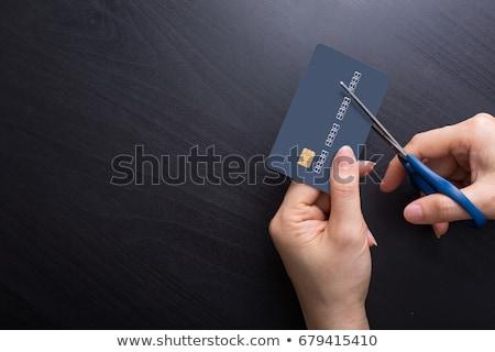 kobieta · cięcie · w · górę · karty · kredytowej · kobiet · nożyczki - zdjęcia stock © is2