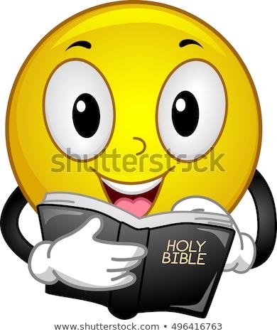 Emotikon olvas Biblia kabala illusztráció boldog Stock fotó © lenm