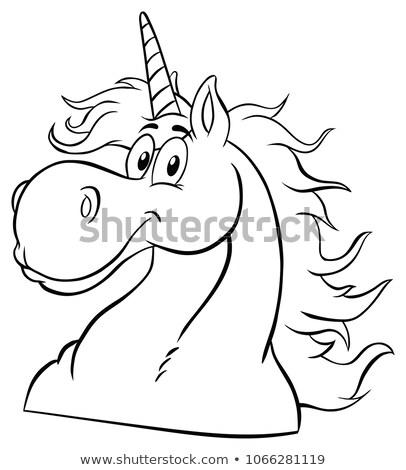 Magic Unicorn Head Classic Cartoon Character Stock photo © hittoon