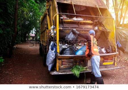 Man Garbage Collector Garbage Can Stock photo © lenm