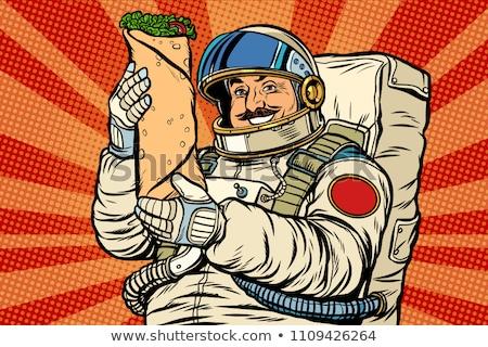 астронавт кебаб Поп-арт ретро Vintage Сток-фото © studiostoks