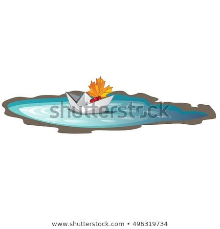 Carta barca foglia d'acero simboli autunno isolato Foto d'archivio © Lady-Luck