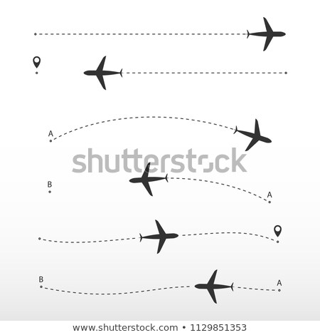 Airplane route. Vector directions on white background. Way direction from point A to point B. stock photo © AisberG