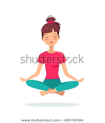 Relaxed young girl sitting in yoga pose Stock photo © deandrobot