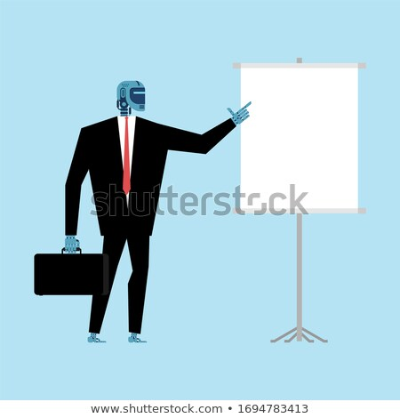 Robot Businessman making presentation Template. Cyborg and Clean Stock photo © MaryValery