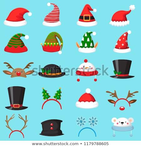 Illusztráció különböző karácsony sapkák izolált fehér Stock fotó © DeCe