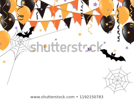 cute vector background with party bunting flags for halloween stock photo © pravokrugulnik