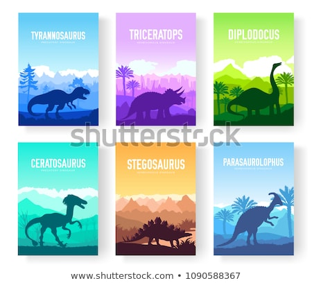 Brochures with set of colorful primitive dinosaurs. Carnivorous predator animals before BC. Template stock photo © Linetale