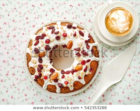 finom · sütemény · mazsola · fehér · fa · asztal · tekercsek - stock fotó © dash