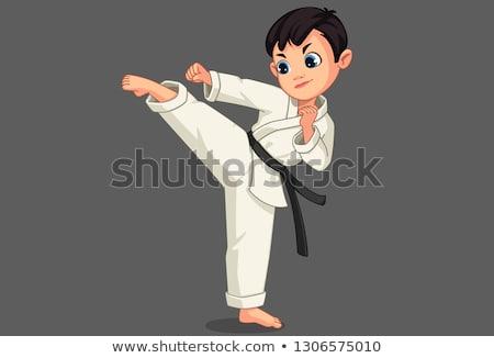 Rajz mosolyog karate fiú Stock fotó © cthoman