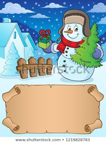 небольшой пергаменте Рождества снеговик бумаги дерево Сток-фото © clairev