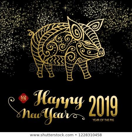 Año nuevo chino cerdo tarjeta fuegos artificiales cielo tarjeta de felicitación Foto stock © cienpies