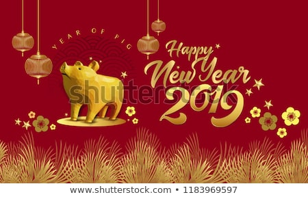 Chinese New Year 2019 low poly gold pig card Stock photo © cienpies