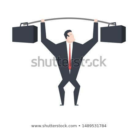 sziluett · súlyemelő · fekete · fehér · épület · test - stock fotó © maryvalery