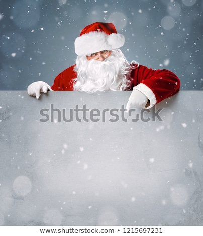 vidám · karácsony · mikulás · üzenet · tábla · hó - stock fotó © hittoon