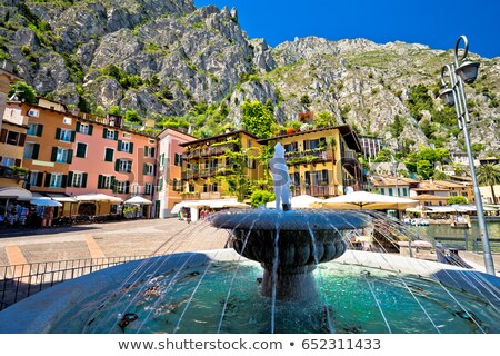Limone sul Garda fountain and square by the lake view Stock photo © xbrchx
