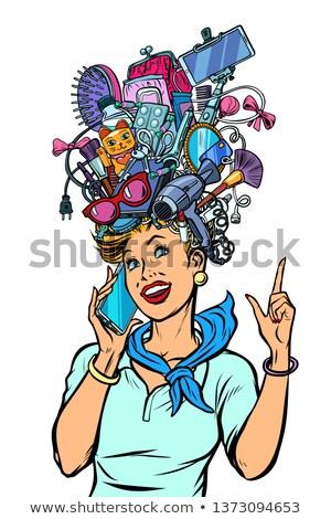 Utaskíserő nő álmok kütyük pop art retro Stock fotó © studiostoks