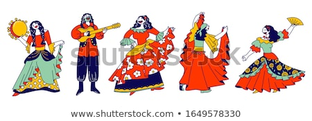 Gypsy ensemble dancing and playing on instruments Stock photo © jossdiim