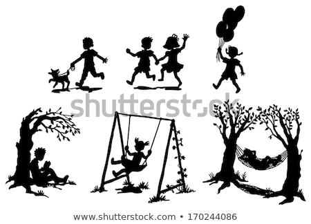 küçük · kız · hamak · kadın · ağaç · manzara · yaz - stok fotoğraf © konradbak
